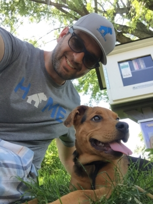 Homedog owner, Greg, on a walk with one of his clients