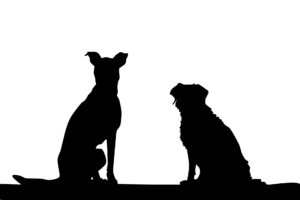 2 Dog Silhouettes